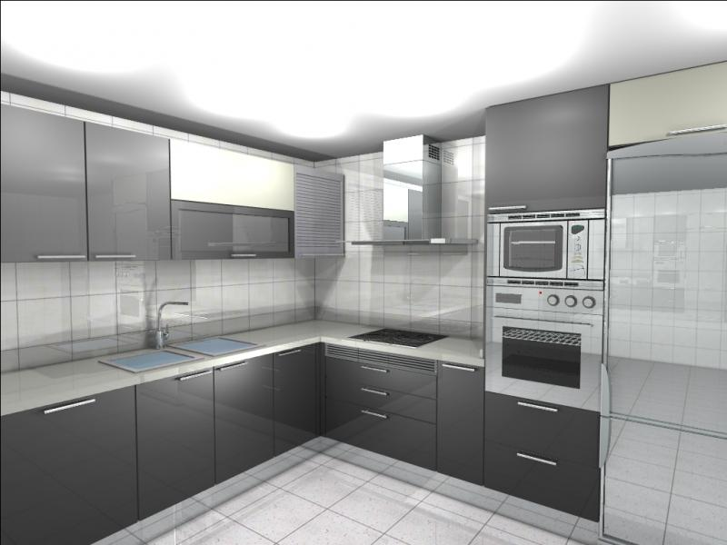 Cocina en color gris y blanco cocinas murcia for Color de pared para muebles blancos